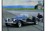 MORGAN 4/4 Cabriolet Front + links, Convertible, Blau